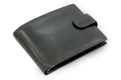 Černá pánská kožená peněženka se zápinkami