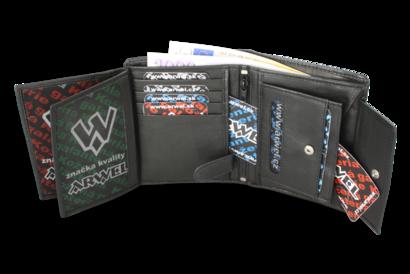 Černá pánská kožená peněženka se zajištěním dokladů