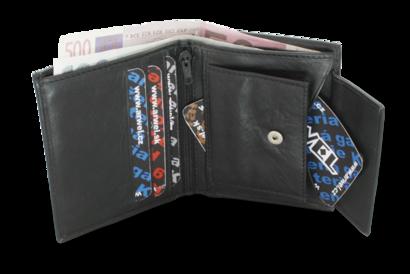 Černá malá dámská kožená peněženka