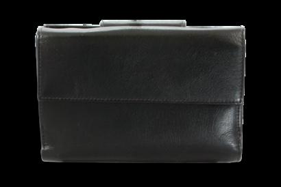Černá dámská kožená peněženka s velkou a malou klopnou