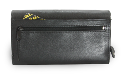 Černá dámská psaníčková kožená peněženka s klopnou