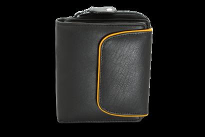 Černá dámská kožená peněženka s klopničkou a světle hnědým lemem