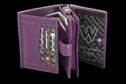 Fialová dámská kožená peněženka se zápinkou