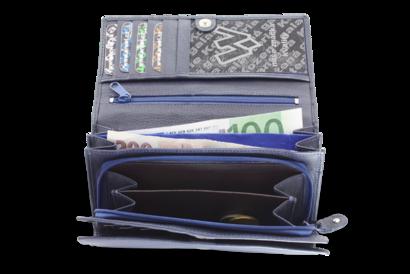 Modrá dámská psaníčková kožená peněženka s klopnou
