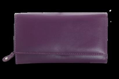 Fialová dámská psaníčková kožená peněženka s klopnou