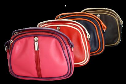 Hnědo-béžová kožená trojzipová kabelka