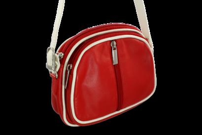 Červeno-bílá kožená trojzipová kabelka