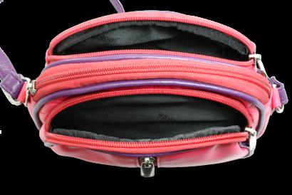 Růžovo-fialová kožená trojzipová kabelka