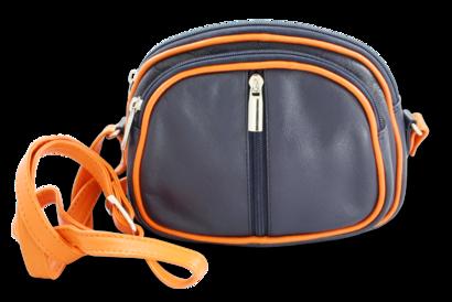 Modro-oranžová kožená trojzipová kabelka