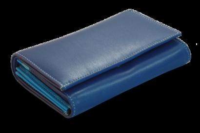 Multimodrá dámská kožená peněženka s klopnou