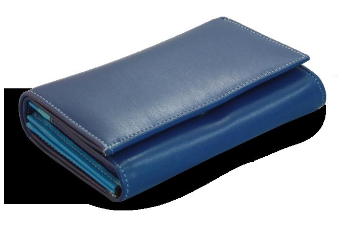 07c27d6fc Dámská kožená peněženka Arwel 511-4125 s klopnou v modré barvě