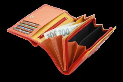 Multičervená dámská kožená peněženka s klopnou