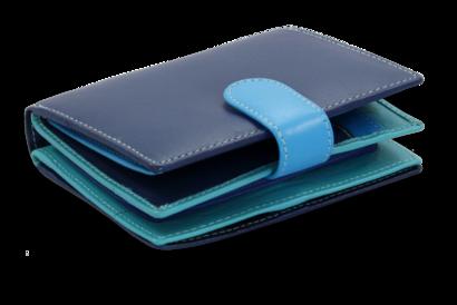 Multimodrá dámská kožená peněženka se zápinkou