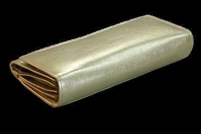Zlatá dámská psaníčková kožená peněženka s klopnou