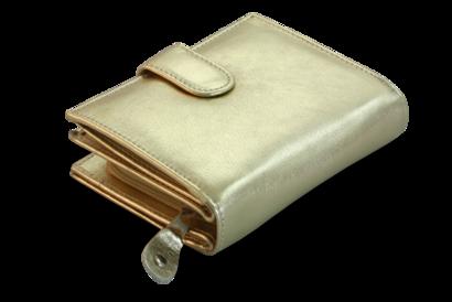 Zlatá dámská kožená peněženka se zápinkou