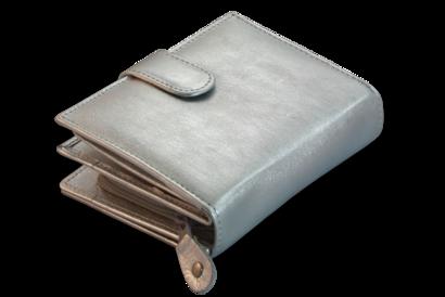Stříbrná dámská kožená peněženka se zápinkou