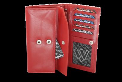Červená dámská kožená psaníčková peněženka s klopnou