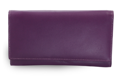 Fialová dámská kožená psaníčková peněženka s klopnou