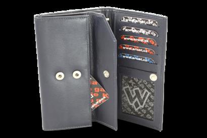 Modrá dámská kožená psaníčková peněženka s klopnou