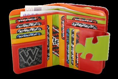 Dámská kožená peněženka s motivem puzzle