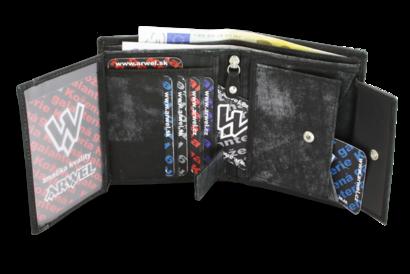 Černá pánská kožená peněženka ve stylu JEANS