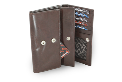 Tmavě hnědá dámská psaníčková kožená peněženka s klopnou