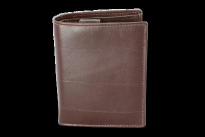 Tmavě hnědá pánská kožená peněženka a dokladovka se zápinkou