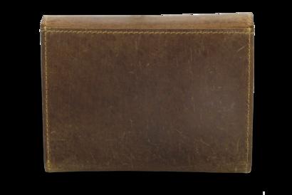 Hnědá kožená peněženka s klopnou
