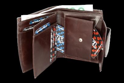Tmavě hnědá dámská kožená peněženka se zápinkou