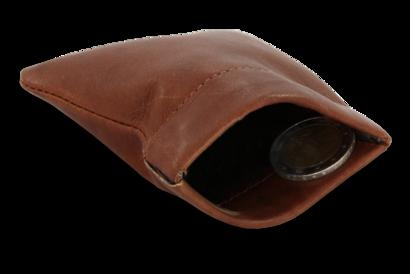 Tmavě hnědá kožená kapsa na mince s pružinou