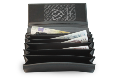 Kožená číšnická peněženka s klopnovou kapsou na mince
