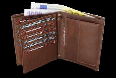 Tmavě hnědá pánská kožená peněženka a dokladovka