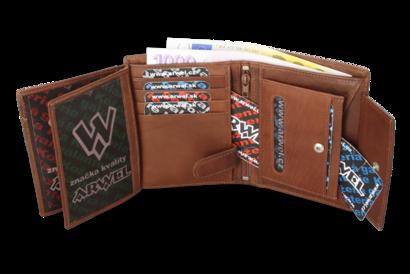 Tmavě hnědá pánská kožená peněženka se zajištěním dokladů