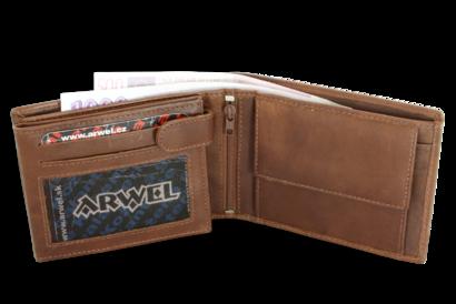 Tmavě hnědá pánská kožená peněženka s vnitřní zápinkou