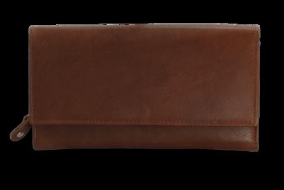 Světle hnědá dámská psaníčková kožená peněženka s klopnou