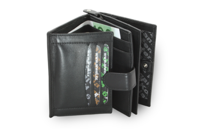 Černá dámská kožená peněženka se zápinkou