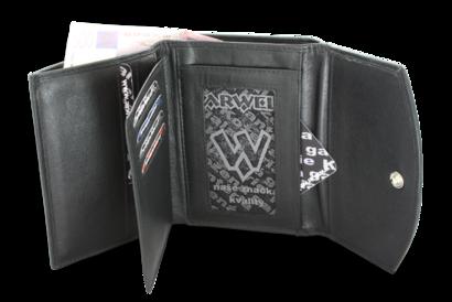 Černá dámská kožená peněženka se dvěma klopnami