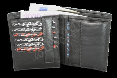 Černá pánská kožená peněženka se zajištěním kreditních karet