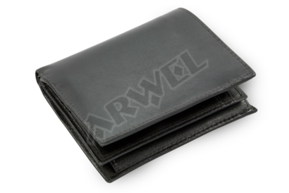 Černá pánská kožená peněženka pro dvě měny