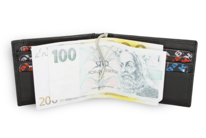 Černá pánská kožená peněženka - dolarovka