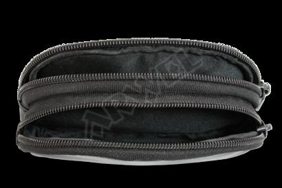 Černá kožená dvouzipová etue