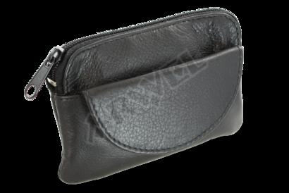 Černá kožená klíčenka se zipovou a klopnovou kapsičkou