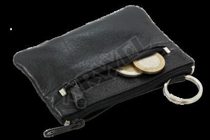 Černá kožená dvouzipová klíčenka