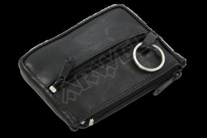 Černá kožená klíčenka se dvěma zipovými a klopnovou kapsičkou