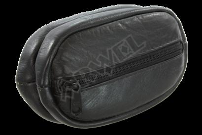 Černá kožená klíčenka se dvěma velkýma zipovýma kapsama