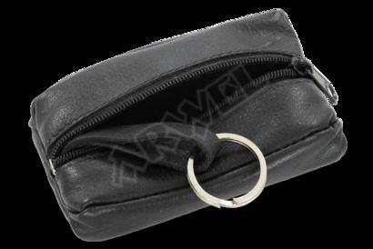 Černá kožená klíčenka se zipovou kapsou