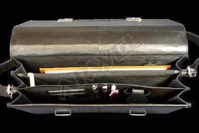 Černá kožená aktovka se dvěma zámečky a se třemi vnitřními přihrádkami