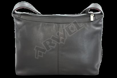 Černá kožená dvouzipová kabelka s širokým popruhem