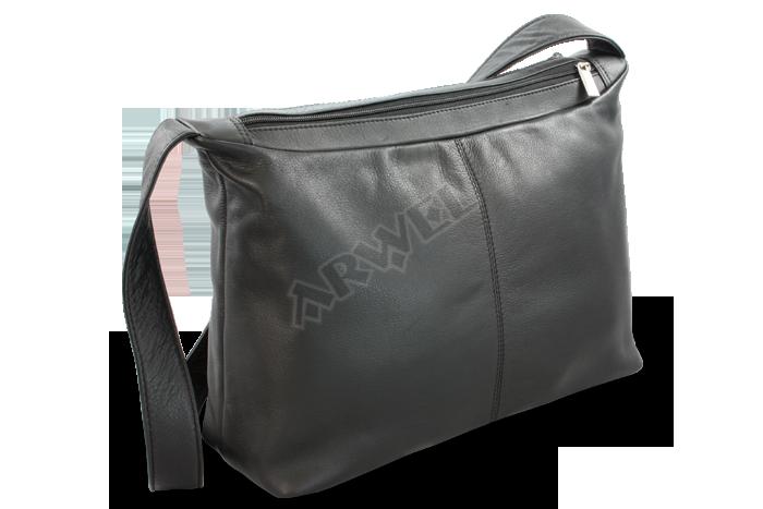 0af270a05fd Kožená dvouzipová kabelka Arwel 212-4003 s širokým popruhem v černé ...