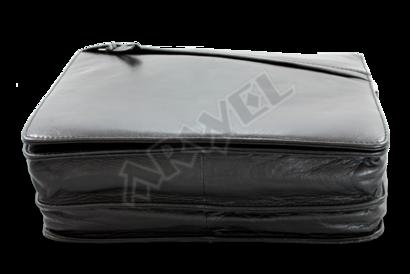 Černá kožená klopnová kabelka
